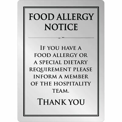 Food Allergy Sign A5 Size Made of Brushed Steel Self Adhesive and Easy to Clean