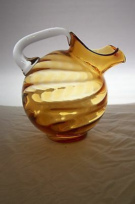 Amber Cambridge Glass Optic Large Ball Pitcher Clear Handle