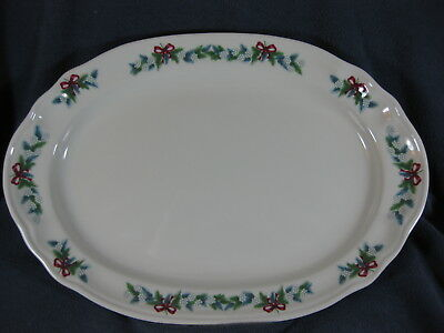 """Pfaltzgraff Red Ribbons 14"""" Oval Serving Platter Christmas Holiday Stoneware"""