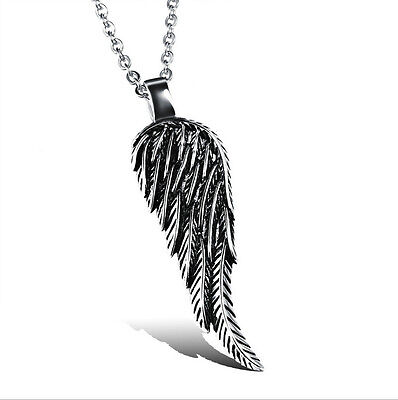 Double Sided Angel Wing Mens Necklace 316L Stainless Steel Pendant PERFECT Gift