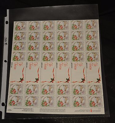 Christmas Seals Stamps Sheet American Lung Association Greeting Vtg 1992