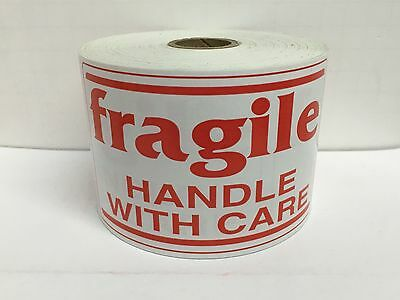 100 Large Labels 3x5 White & Red fragile Handle with Care Shipping Stickers