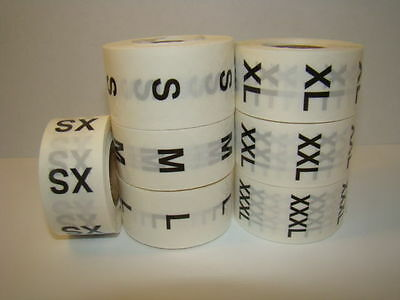 "500 L Labels of 1"" Round Clear LARGE Size Clothing Retail Stickers Rolls"