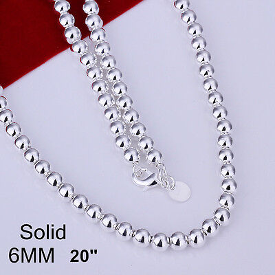 """Stunning 925 Sterling Silver Filled 6MM Solid Ball Beads Charm Necklace 20"""""""