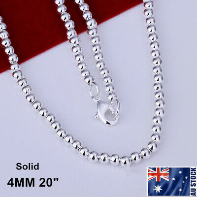Stunning 925 Sterling Silver Filled 4MM Solid Ball Beads Charm Necklace 20""