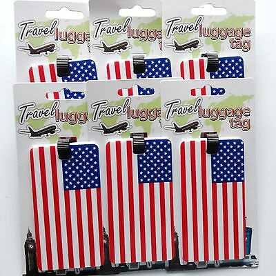 6 travel luggage tag american usa flag suitcase baggage id label