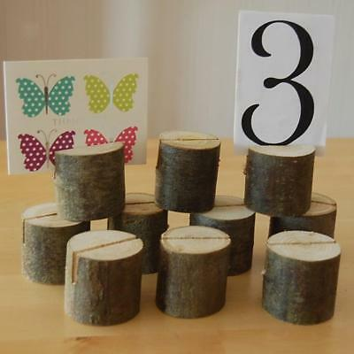 10Pcs Wooden Wedding Table Number Place Name Card Stand Memo Card Holder