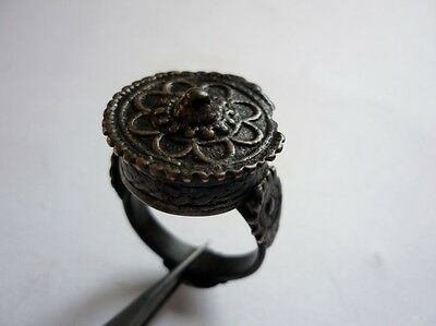 Antique Bulgarian Folklore Handmade Brass Ring 19 Century
