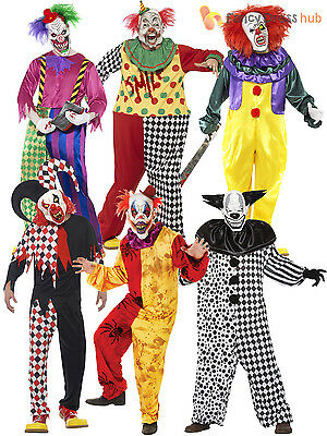 Mens Killer Clown Jester Costume + Mask Halloween Circus Evil Horror Fancy Dress