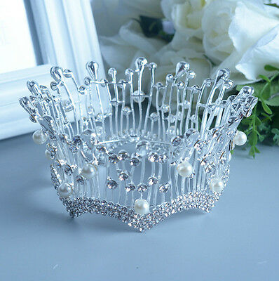 6cm High Crystal Pearl Wedding Bridal Party Pageant Prom Tiara Round Crown