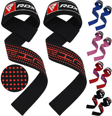 RDX Padded Weight Lifting Straps Training Gym Gloves Hand Bar Gel Wrist Support