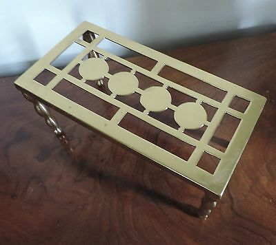 Antique Brass Trivet or Tea Pot Stand for Hearth Fireplace Mantel or Table Top