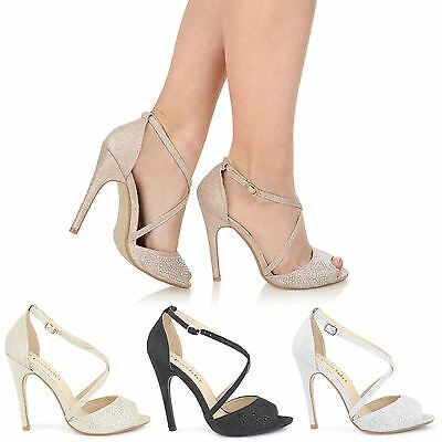 Ladies Womens Bridal Evening Prom Wedding Glitter Ankle Strappy Sandals Shoes