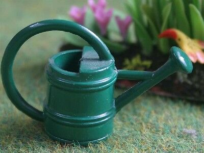 Small Green Metal Watering Can Dolls House Miniature Outdoor Gardening