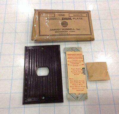 NOS Bakelite Single Switch Cover Wall Plate Brown and Ribbed missing some scews