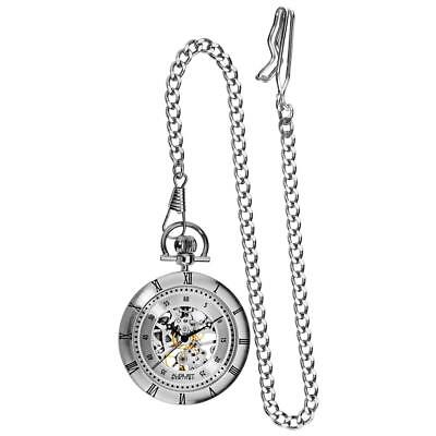 August Steiner AS8017SS Skeleton Automatic Silvertone Mens Pocket Watch