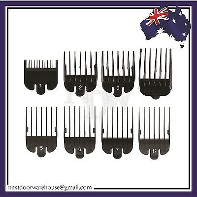 8 Pack Black Cutting Guides WAHL Clipper Attachment combs #1 - #8 (Pick Up Avai)