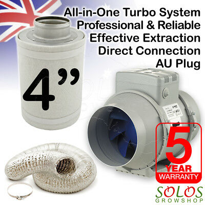 "4""/100mm HYDROPONIC INLINE FAN SILENT VENTILATION COMBO SET GROW CARBON FILTER"