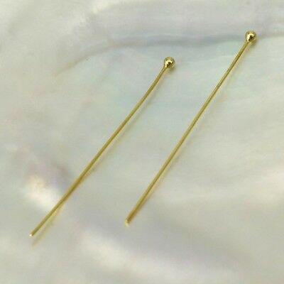 """24K Gold Vermeil on 925 SILVER HEAD-PIN Findings Pair 3-Micron Gold-Plated 1.5"""""""