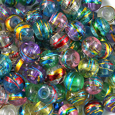 50Pcs Mixed Colours 'Oily Drizzle' Glass Drawbench Round Beads Jewelry DIY 6mm