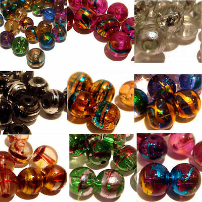 Drawbench Oily Drizzle Round Glass Beads Craft Jewellery Findings DIY 6/8mm