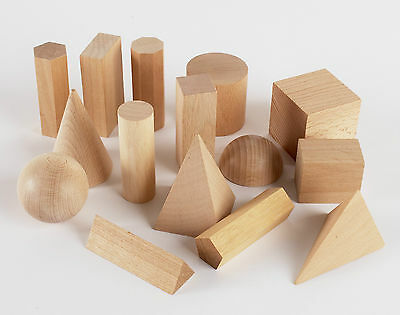 Wooden Geometric Solids 3-D shapes Montessori Learning Resources for home School