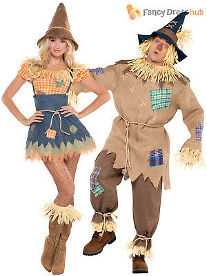 Mens Ladies Scarecrow Costume Book Week Day Character Fancy Dress Outfit Couples