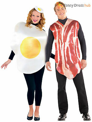 Couples Bacon and Egg Costume Funny Food Fancy Dress Mens Ladies Outfit Party