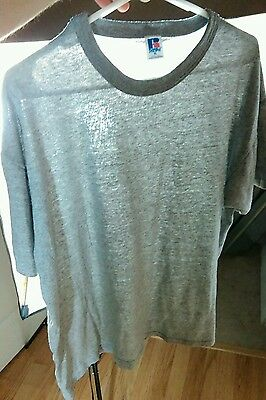 Vtg Russell Paper Thin Heather Gray Blank 80's T Shirt XL Bodybuilding Hipster