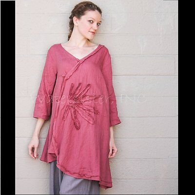 PEACOCK WAYS X016  Art-to-Wear Linen  ARTSY DAISY TUNIC  Soutache Top  M  L  RED