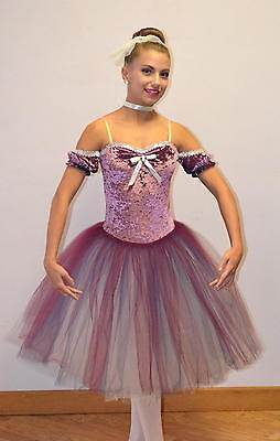 CAMEO Romantic Ballet Tutu w/Drop Sleeves ROSE/WINE Dance Costume Child & Adult