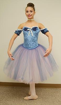 Cameo Dance Costume Romantic Ballet Tutu with Drop Sleeves BLUE  Adult Large
