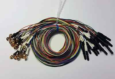 EEG Gold Cup Electrodes 60 Inch Wire with 1.5in DIN Plug Assorted Colors 20-pack