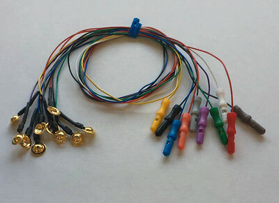 EEG Gold Cup Electrodes 18 Inch Wire with 1.5in DIN Plug Assorted Colors 10-pack