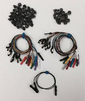 """Pkg of 50 Dry Electrodes, 25 EEG Cup Electrodes, 19x 18"""" Lead Wires & EAR CLIP"""