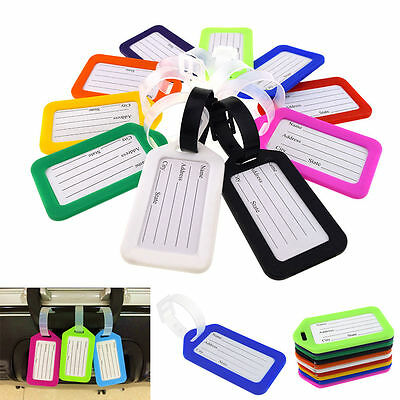 Plastic Suitcase / Luggage ID Tags Labels NAME ADDRESS ID SUITCASE Bag TRAVEL