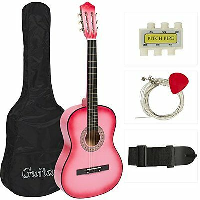 NEW New Beginners Acoustic Guitar With Guitar Case Strap Tuner and Pick Pink
