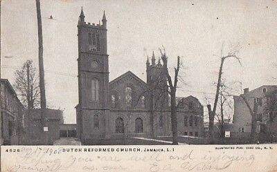 Postcard Dutch Reformed Church Jamaica Long Island NY New York