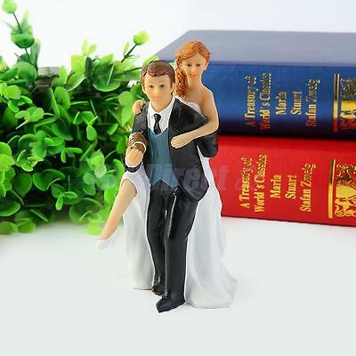 Playful Football Bride and Groom Wedding Cake Top Topper Couple Figurines