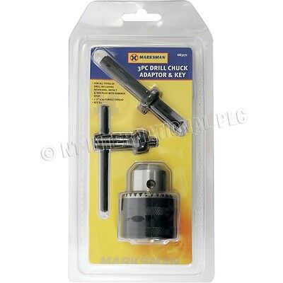 3Pc Drill Chuck Adaptor Key Sds Plus Hammer Rotary Nut Tool Reversing Female New
