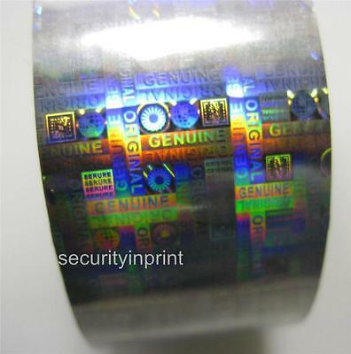 "Holographic Silver Security Hot Foil ""GENUINE ORIGINAL"" Tape 30mm wide 1m Long"