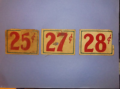 """ANTIQUE STORE PRICE TAGS FROM 1911 STORE HOUSE 3""""x2 1/2 in."""