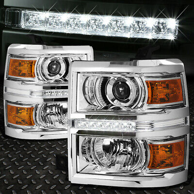 For 2014-2015 Chevy Silverado Chrome Amber Projector Headlight/lamp W/led Drl