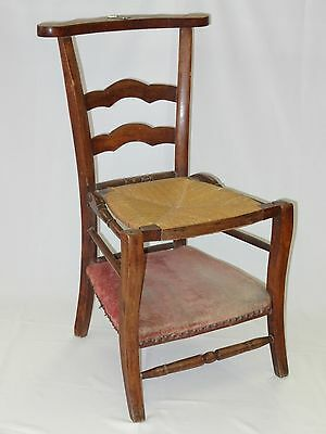 ANTIQUE FRENCH 19 c COUNTRY FRENCH PRIE DIEU KNEELER CHAIR w/ VELVET & RUSH SEAT