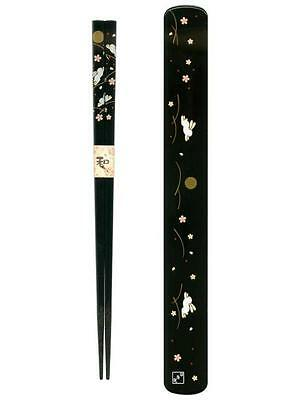 Black Japanese Travel Chopsticks with Case Bunny #0696