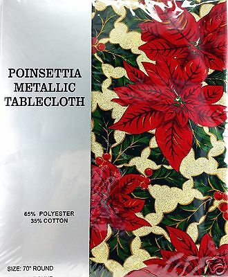 Christmas Poinsettia Metallic Fabric Tablecloth 70 inch Round Poly Cotton New