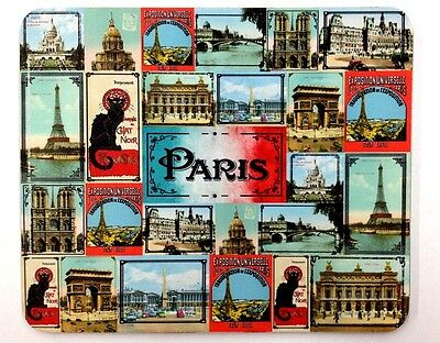 """Mouse Pad - """"Paris"""" - Colorful Collage of Vintage Images of Iconic Landmarks"""