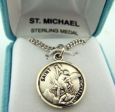 Mens Womens 7/8 .925 Silver Archangel St Michael Defeat Protect Medal & Gift Box