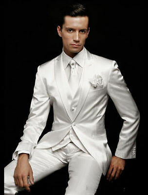 2015 White Men's Wedding Suits Groom Tuxedos Formal Business Party Dinner Suits