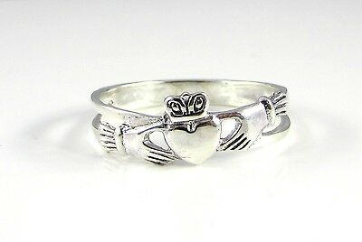 Funky 925 SOLID Sterling Silver Irish / Celtic Claddagh Love Ring Sizes L to T